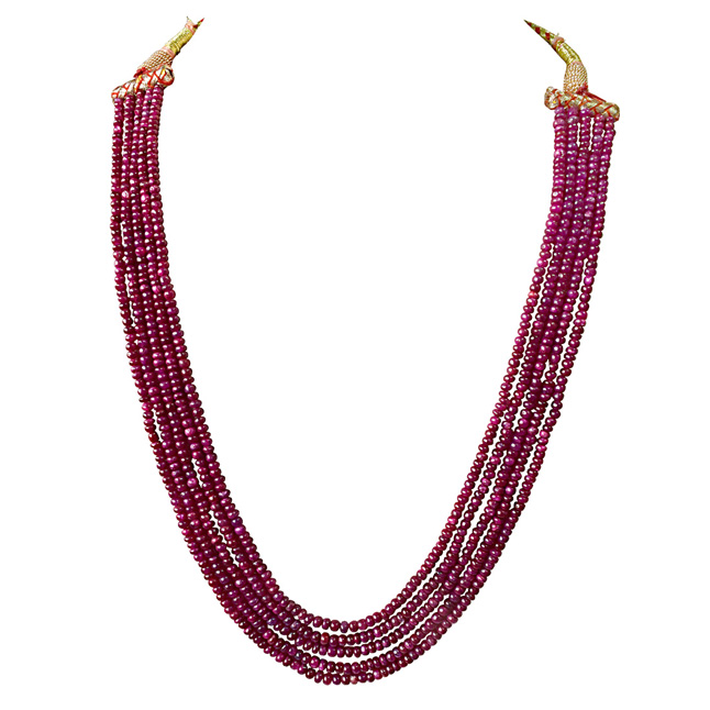 357cts Five Line Real Natural Red Ruby Beads Necklace (357cts Ruby Neck)