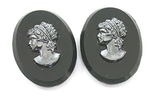 36.29 ct Oval Shaped Loose Black Onyx with Queens Face -Gemstone Plates