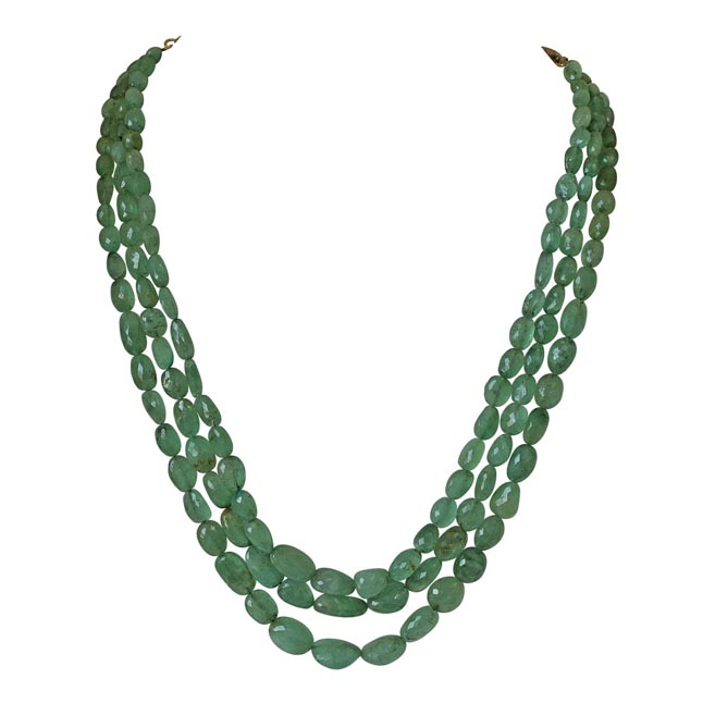 3 Line 362.73cts REAL Natural Green Oval Faceted Emerald Necklace for Women (362.73cts EMR Neck)