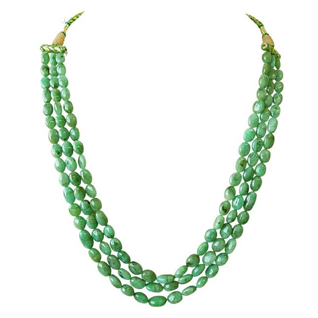 3 Line 364ct REAL Natural Green Oval Emerald Necklace For Women