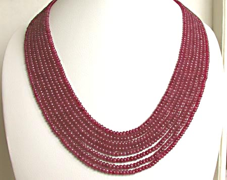365 cts 8 Line REAL Ruby Beads Necklace