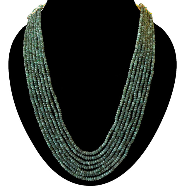 7 Line 366cts REAL Natural Green Emerald Beads Necklace for Women (366cts EMR Neck)