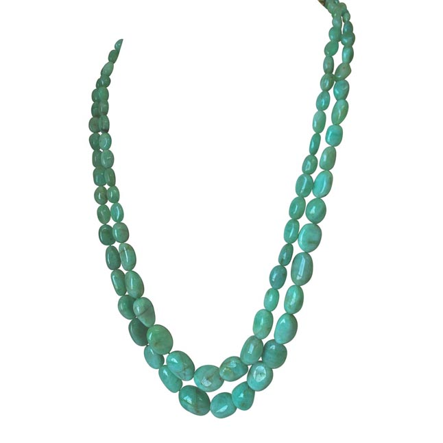 Two Line 370.76cts REAL Natural Light Green Oval Emerald Necklace for Women (370.76cts EMR Neck)