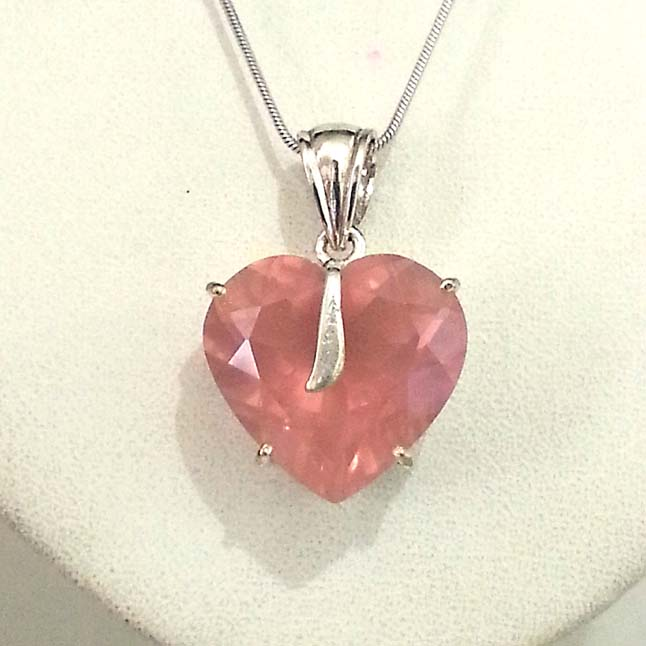 39.76 cts Faceted Heart Shaped Rose Quartz & Sterling Silver Pendants -Gemstone Pendants