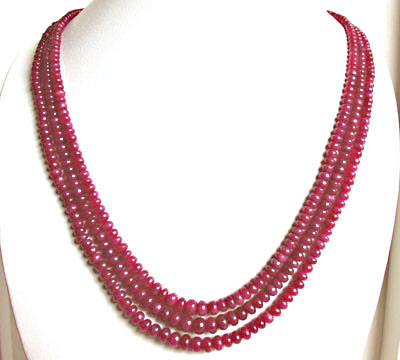 158 cts 3 Line REAL Ruby Beads Necklace - Ruby Necklace