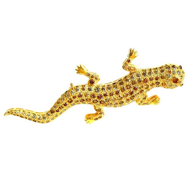 IGL CERT 4.00cts Lizard Design Brooch White VS & Fancy Colour Natural Diamonds