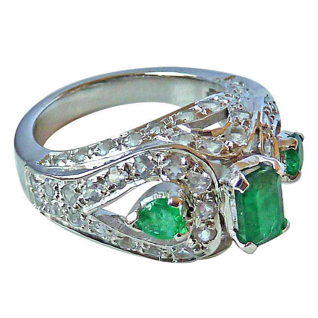 4.03ct Real Green Emerald & White Topaz Gemstone set in Silver Fine Ring (GSR27)