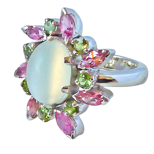 4 09ct Moonstone Pink Amp Green Tourmaline Silver Cocktail