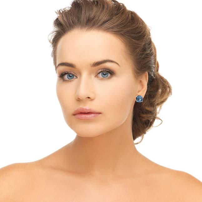 4.55 cts Round Shaped Sky Blue Topaz Gemstone Solitaire Earrings in 925 Sterling Silver -Gemstone Earrings