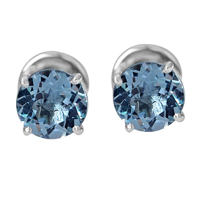 4.55 cts Round Shaped Sky Blue Topaz Gemstone Solitaire Earrings in 925 Sterling Silver -Gemstone Earrings