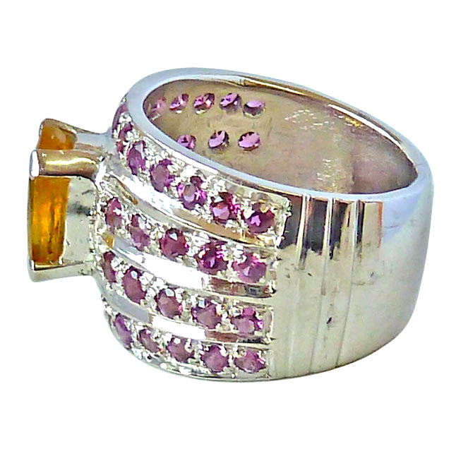 4.84ct Wide Oval Golden Topaz & Pink Rhodolite Silver Fine Beautiful rings
