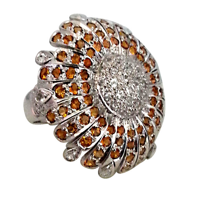 4.87 ct Citrin & Topaz Sunflower rings in Silver for Lady love