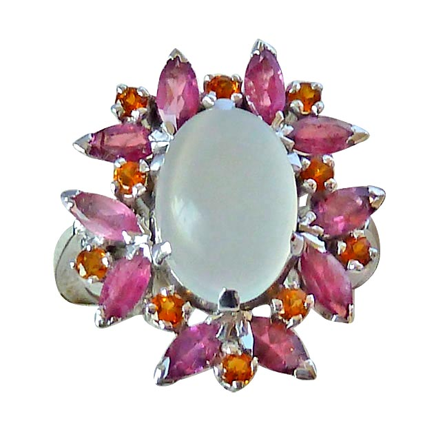 4.92ct Moonstone, Marquise Pink Tourmaline, Round citrin Sterling Flower Cocktail rings