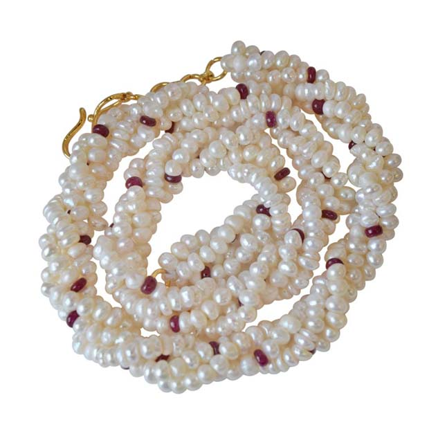 4 Line Twisted Real Red Ruby Beads & Freshwater Pearl Necklace -Pearl Choker