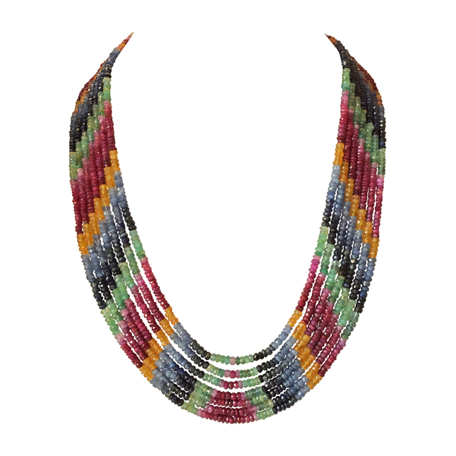 428.70cts 7 Line Rainbow Necklace Colourful Multicolour Necklace for Women