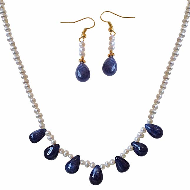 42cts Real Drop Blue Sapphire Freshwater Pearl Necklace Earrings Set -Pearl Set