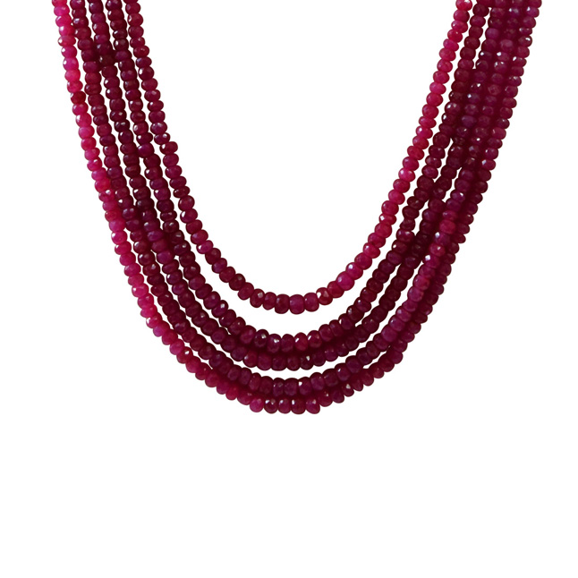 433.352cts 5 line Faceted Red Ruby Beads Necklace for Women (433.352cts Ruby Neck)