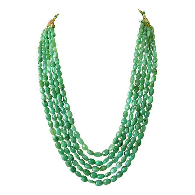 5 Line 446ct REAL Natural Green Oval Emerald Necklace For Women