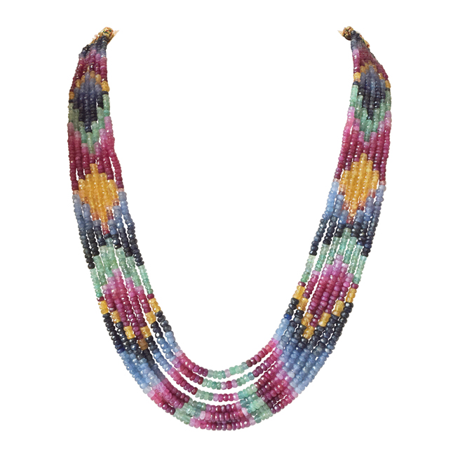 447.21cts 7 Line Rainbow Necklace Colourful Multicolour Necklace for Women