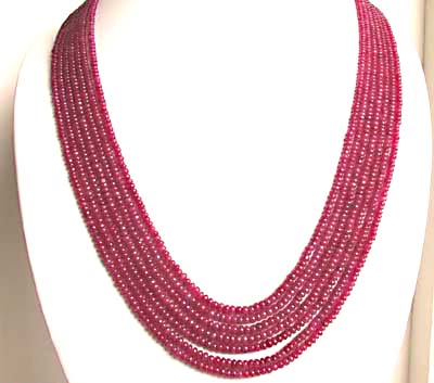 463 cts -7 Line Ruby Beads Necklace -Ruby Necklace