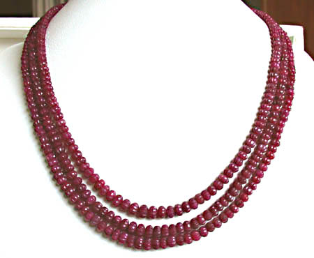 472 cts 3 Line REAL Engraved Ruby Beads Necklace -Ruby Necklace