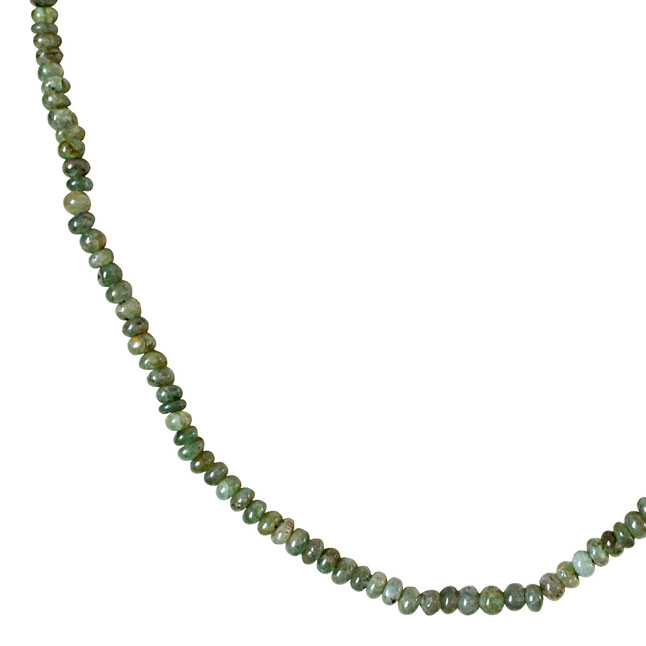 Single Line 48cts REAL Natural Green Emerald Beads Necklace for Women (48cts EMR Neck)