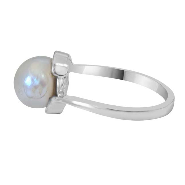 5.00 cts Real Round Big Pearl & 925 Sterling Silver rings for Astrological Power for All