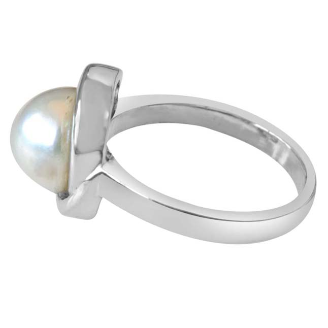 5.00 cts Real Natural Big Round Pearl & 925 Sterling Silver rings for Astrological Power for All