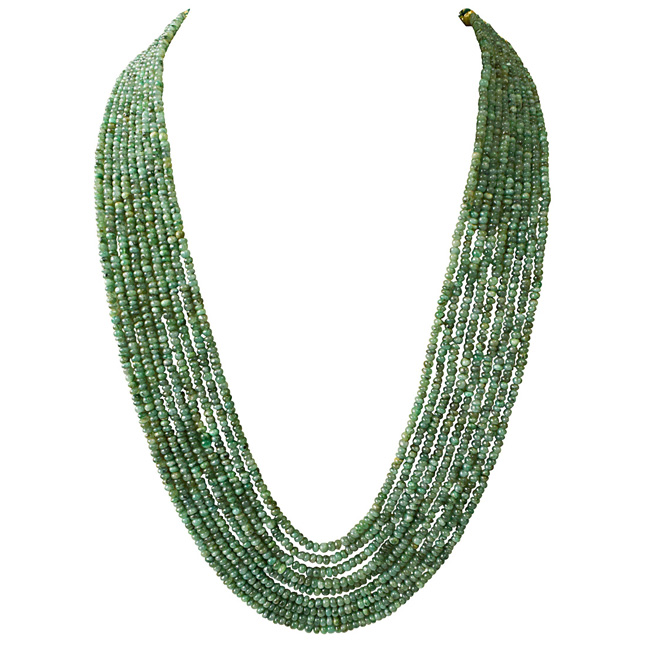 9 Line 543cts REAL Natural Green Emerald Beads Necklace for Women (543cts EMR Neck)