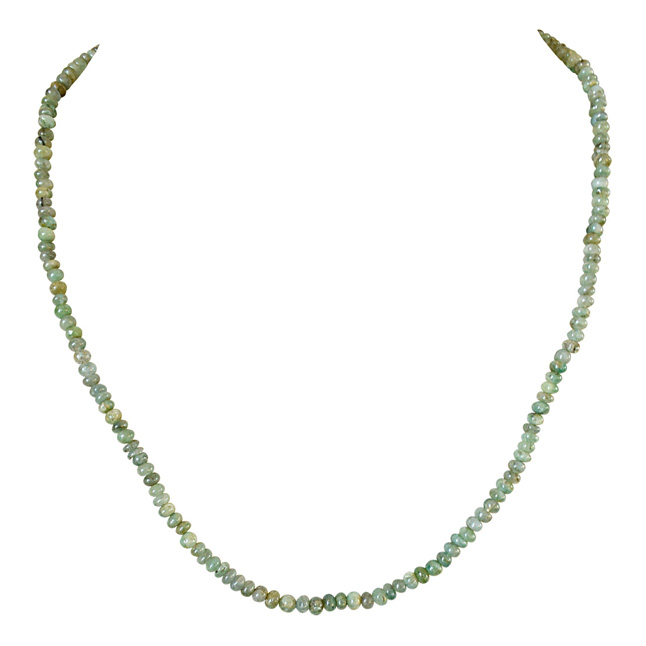 Single Line 55cts REAL Natural Green Emerald Beads Necklace for Women (55cts EMR Neck)