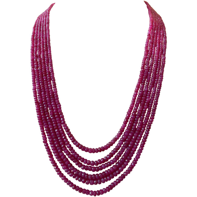 561cts 6 Line Real Natural Faceted Red Ruby Beads Necklace (561cts Ruby Neck)