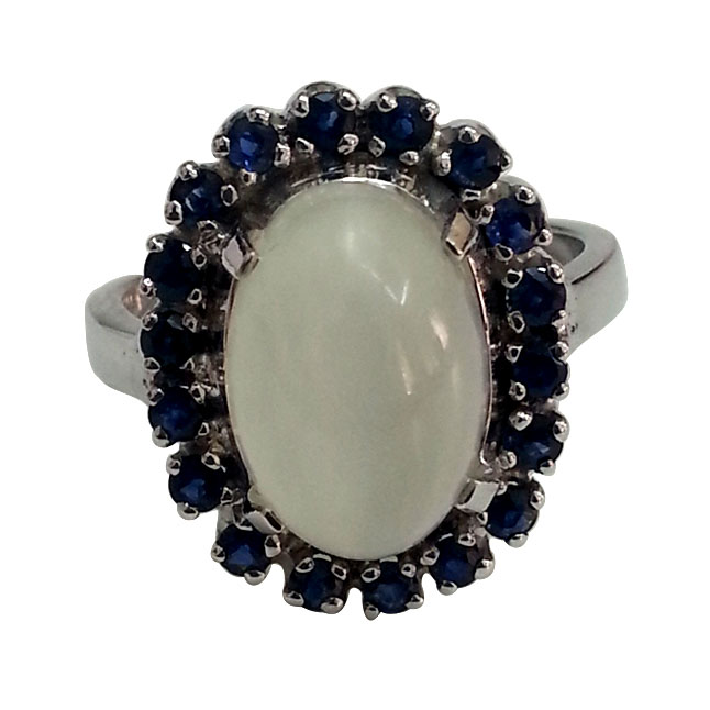 6.07 ct Moonstone & Sapphire Gemstone Silver Ring for her - Gemstone Rings