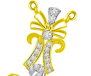 6 Leaves Flower & Droplet Diamond & Gold Pendants -Flower Shape Pendants