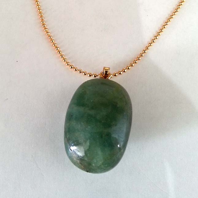 61.05 cts Real Natural Green Big Emerald Pendants with Gold Plated Chain