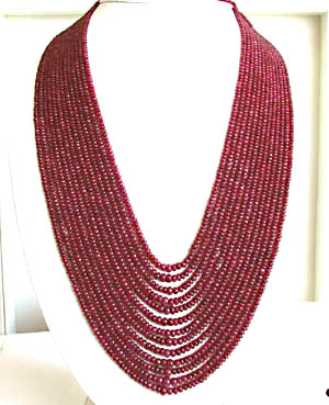 624 cts 13 Line REAL Ruby Beads Necklace
