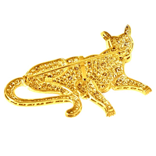 7.06ct I,J/VS & Fancy colour Real Diamond Tiger style animal Brooch -Diamond Brooches