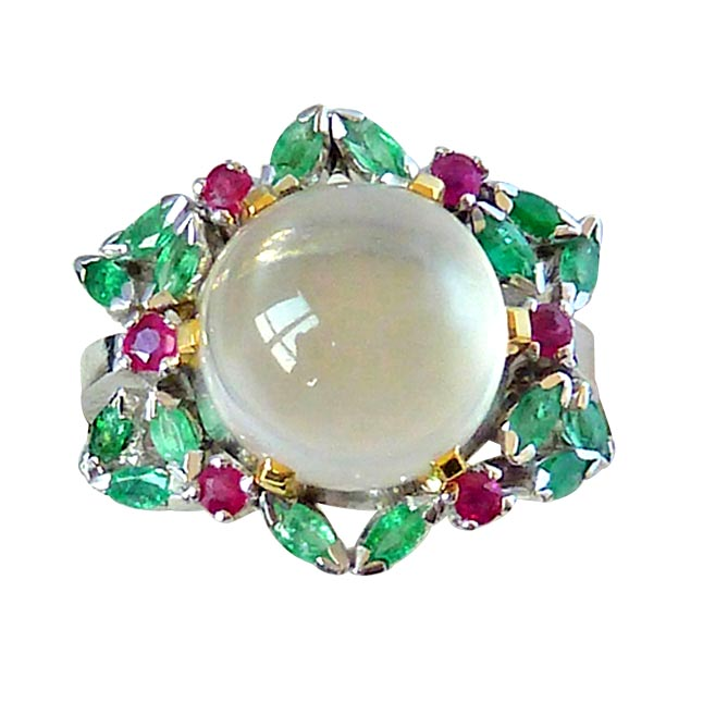 7.71ct Moonstone, Real Red Ruby & Marquise Green Emerald Sterling Silver gemstone Cocktail rings