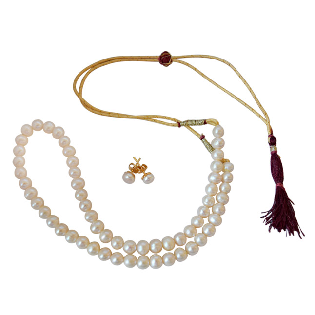 7/8 mm Real Round Natural White Pearl Single Line Necklace & Earrings Jewellery Set -Pearl Set