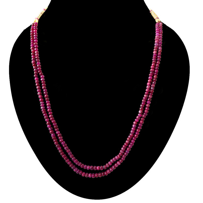 72.77cts 2 Line Real Pink Ruby Beads Necklace for Women (72.77ctsRubyNeck)