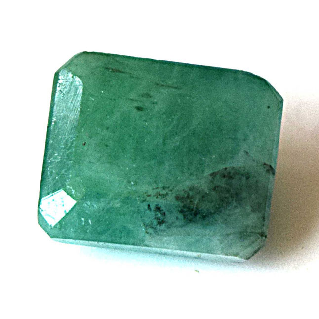 8.38cts Real Natural Rectangle Faceted Light Green Emerald Gemstone for Astrological Purpose (8.38cts Emerald)