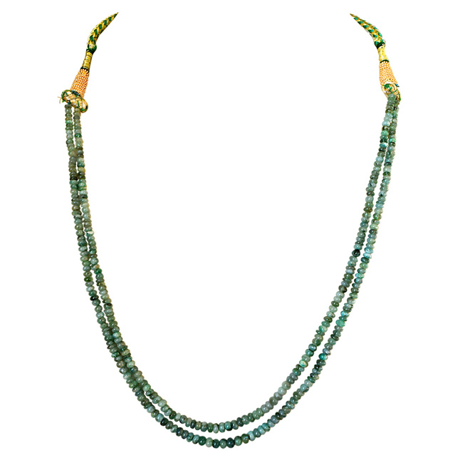 Two Line 83cts REAL Natural Green Emerald Beads Necklace for Women (83cts EMR Neck)