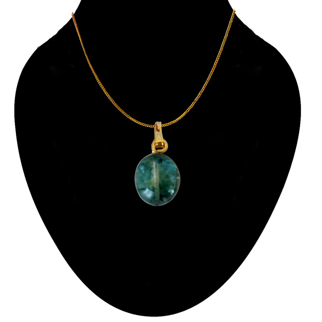 8.74 cts Real Natural Green Emerald Pendant with Gold Plated 22 IN Chain (8.74cts EMR Pend)