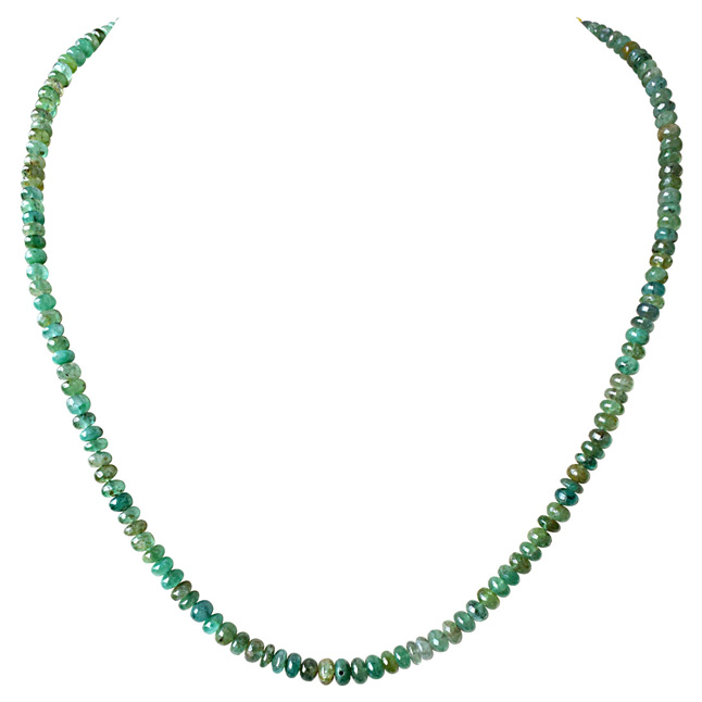 Single Line 92cts Real Natural Green Emerald Beads Necklace for Women (92cts EMR Neck)