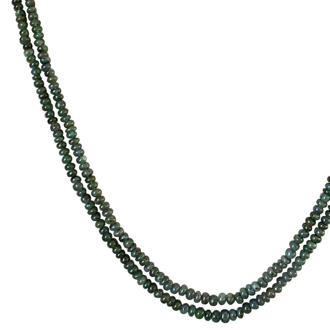 Two Line 93cts REAL Natural Green Emerald Beads Necklace for Women (93cts EMR Neck)