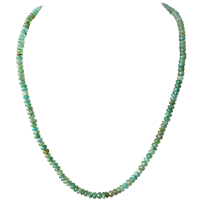 Single Line 94cts Real Natural Green Emerald Beads Necklace for Women (94cts EMR Neck)