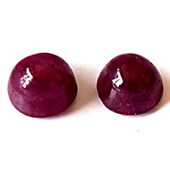 2/9.99cts Real Natural Round Red Cabochan Ruby Gemstone for Astrological Purpose (9.99cts Cab Ruby)