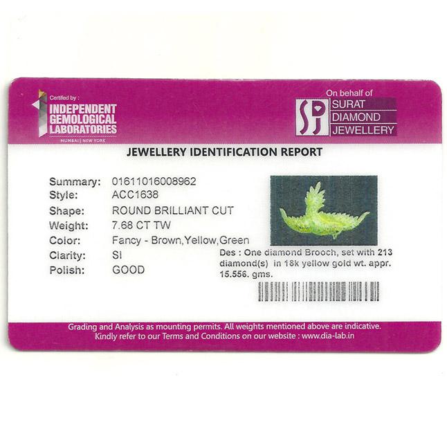 IGL Certified Fancy Colour Real Natural Diamond Flying Bird Brooch