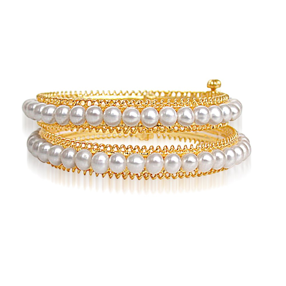 Rapturous Adornment - Real Freshwater Pearl & Gold Plated Bangles with Screw for Women (BGP13)