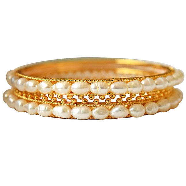 Utopia - Rice Pearl & Gold Plated Bangles for Women (BGP5)