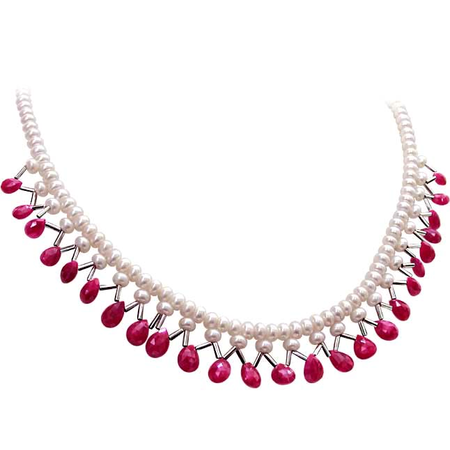 Ideal Buy Ruby Pearl Necklaces, Ruby and Pearl Jewelry Online - Surat  TN47